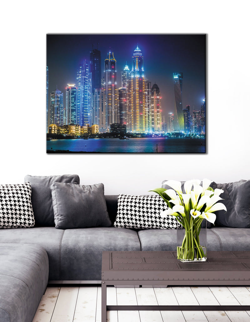 City Wall Art:  Lake Night Light (Wood Frame Ready To Hang)