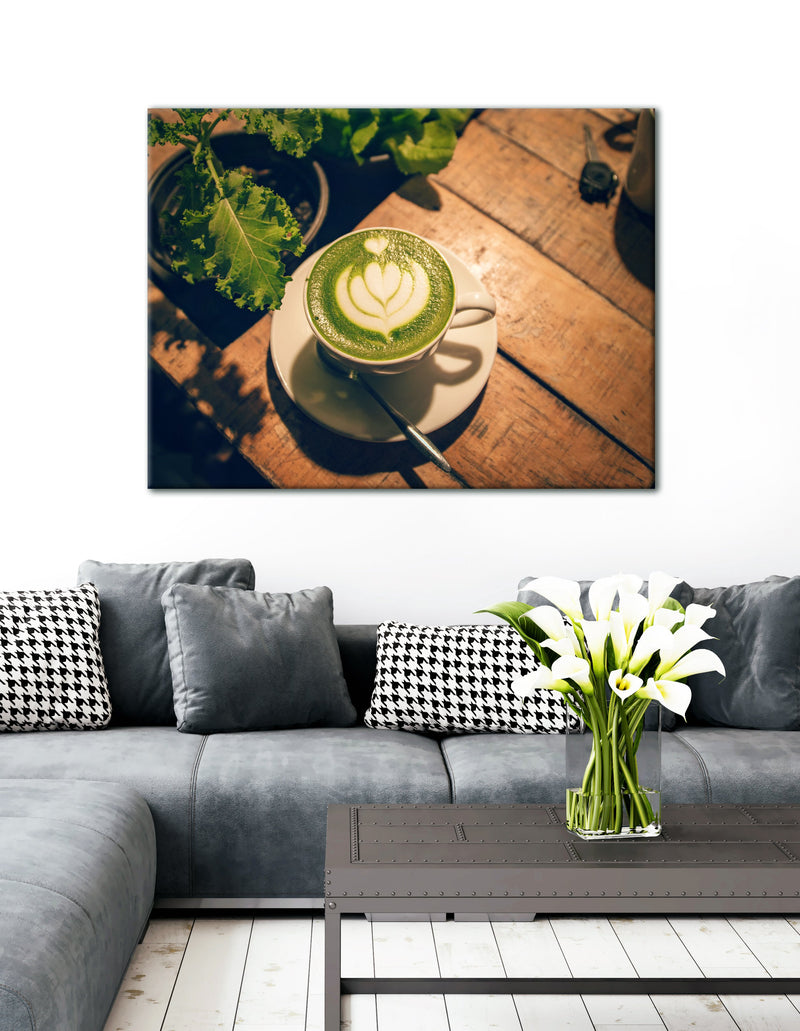 Coffee Wall Art: White Ceramic Cup Near Plant (Wood Frame Ready To Hang)