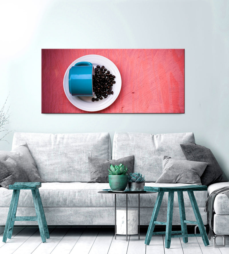 Coffee Wall Art: Blue Ceramic Tea Cup With Beans (Wood Frame Ready To Hang)