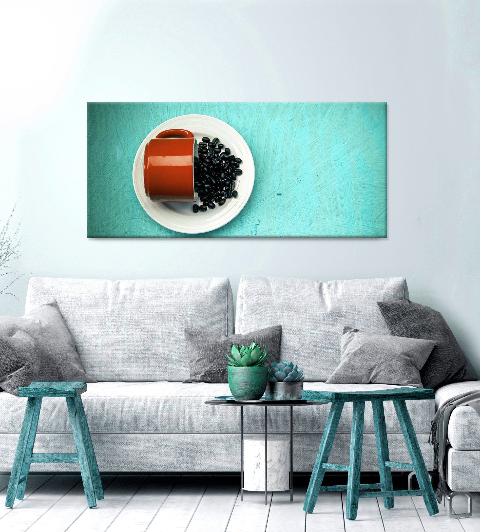 Coffee Wall Art: Orange Ceramic Tea Cup With Beans (Wood Frame Ready To Hang)