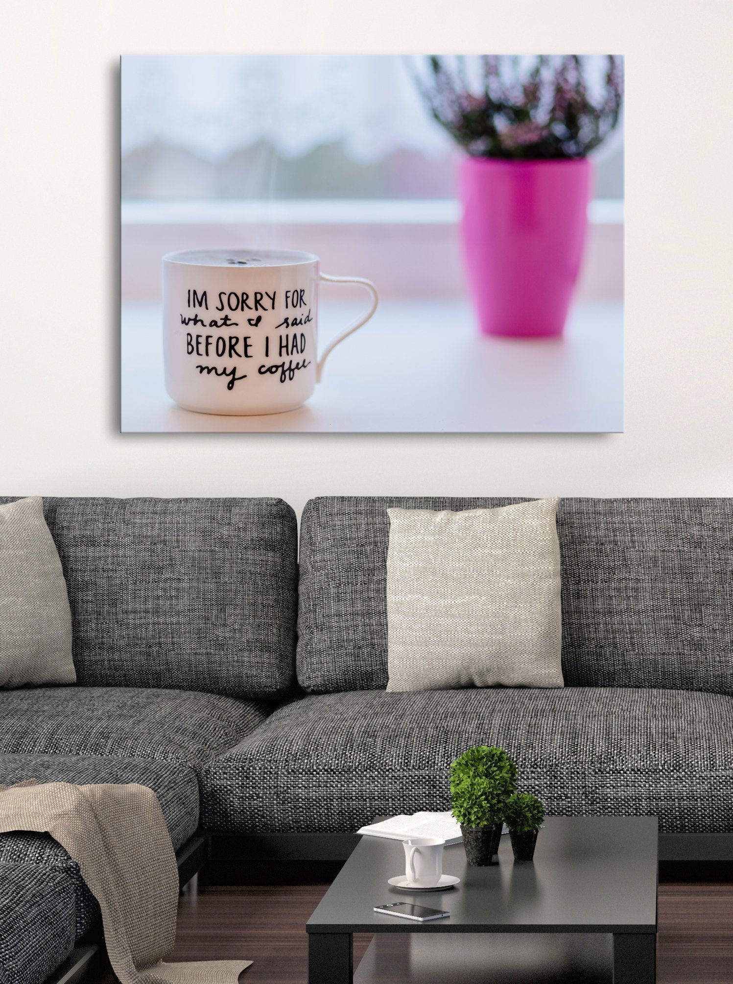 Coffee Wall Art: White Ceramic Mug With Saying (Wood Frame Ready To Hang)