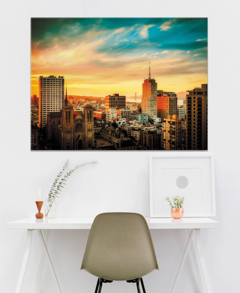 City Wall Art:  Sunset Cityscape (Wood Frame Ready To Hang)