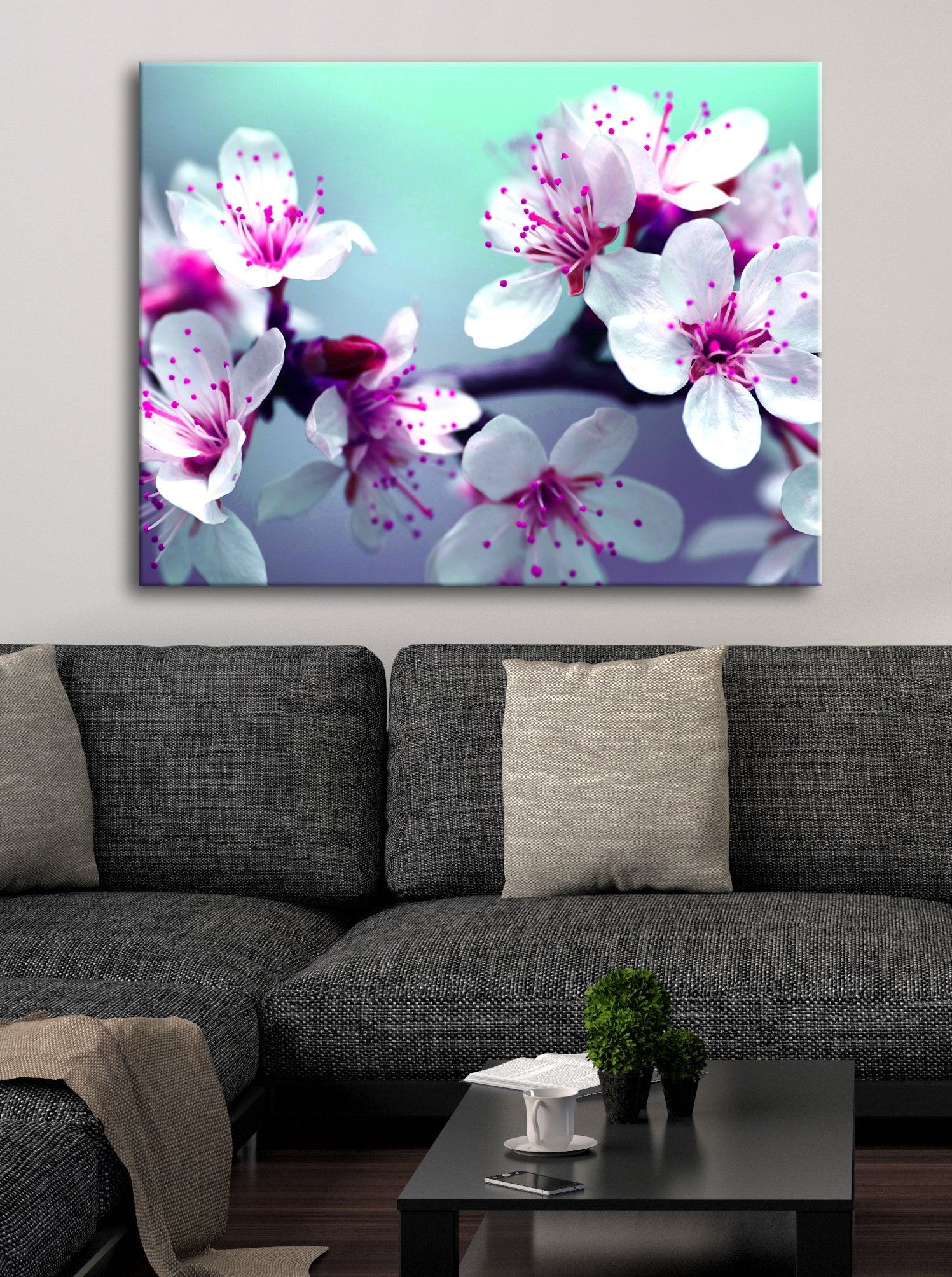 Flower Wall Art: Cherry Blossoms Teal Fushia (Wood Frame Ready To Hang)