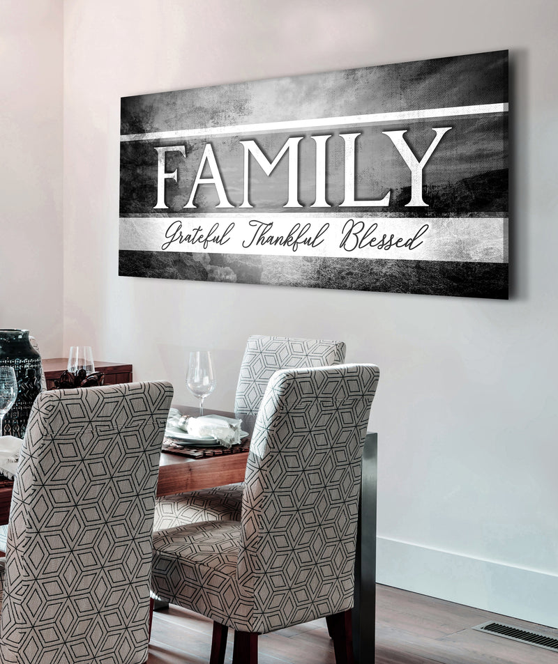 Family Wall Art: Family Grateful Thankful Blessed V2 (Wood Frame Ready To Hang)
