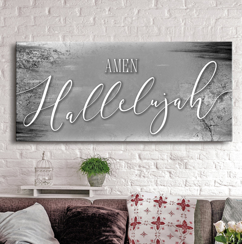 Christian Wall Art: Amen Hallelujah (Wood Frame Ready To Hang)