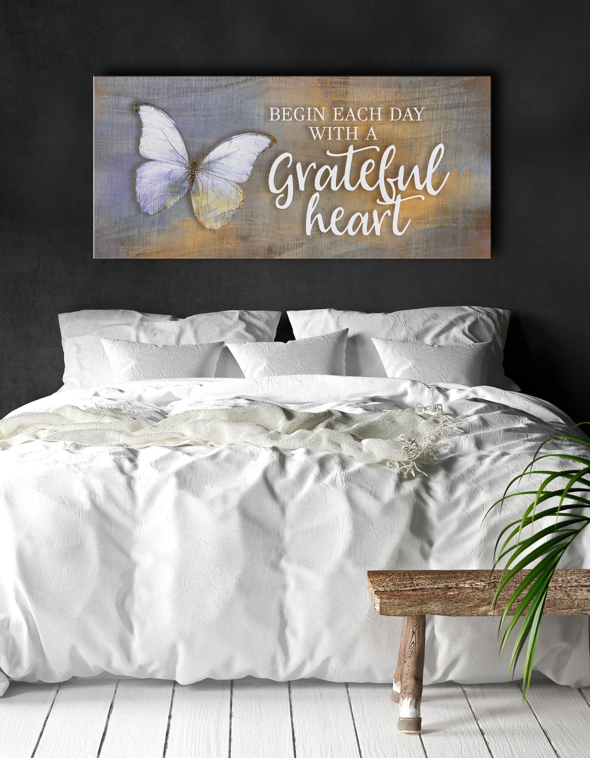 Home Wall Art: Begin Each Day With A Grateful Heart V3 (Wood Frame Ready To Hang)