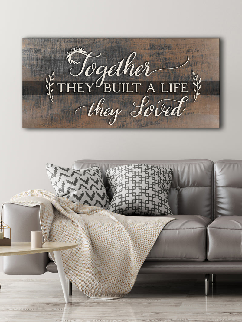 Couples Wall Art: Together They Build A Life They Loved V5 (Wood Frame Ready To Hang)
