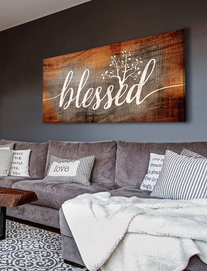 Christian Wall Art: Blessed Word Sign (Wood Frame Ready To Hang)