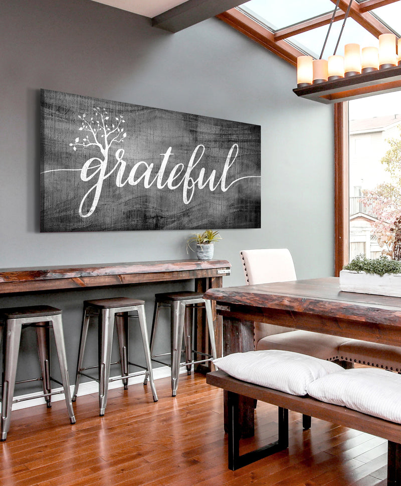 Christian Wall Art: Grateful Word Sign (Wood Frame Ready To Hang)