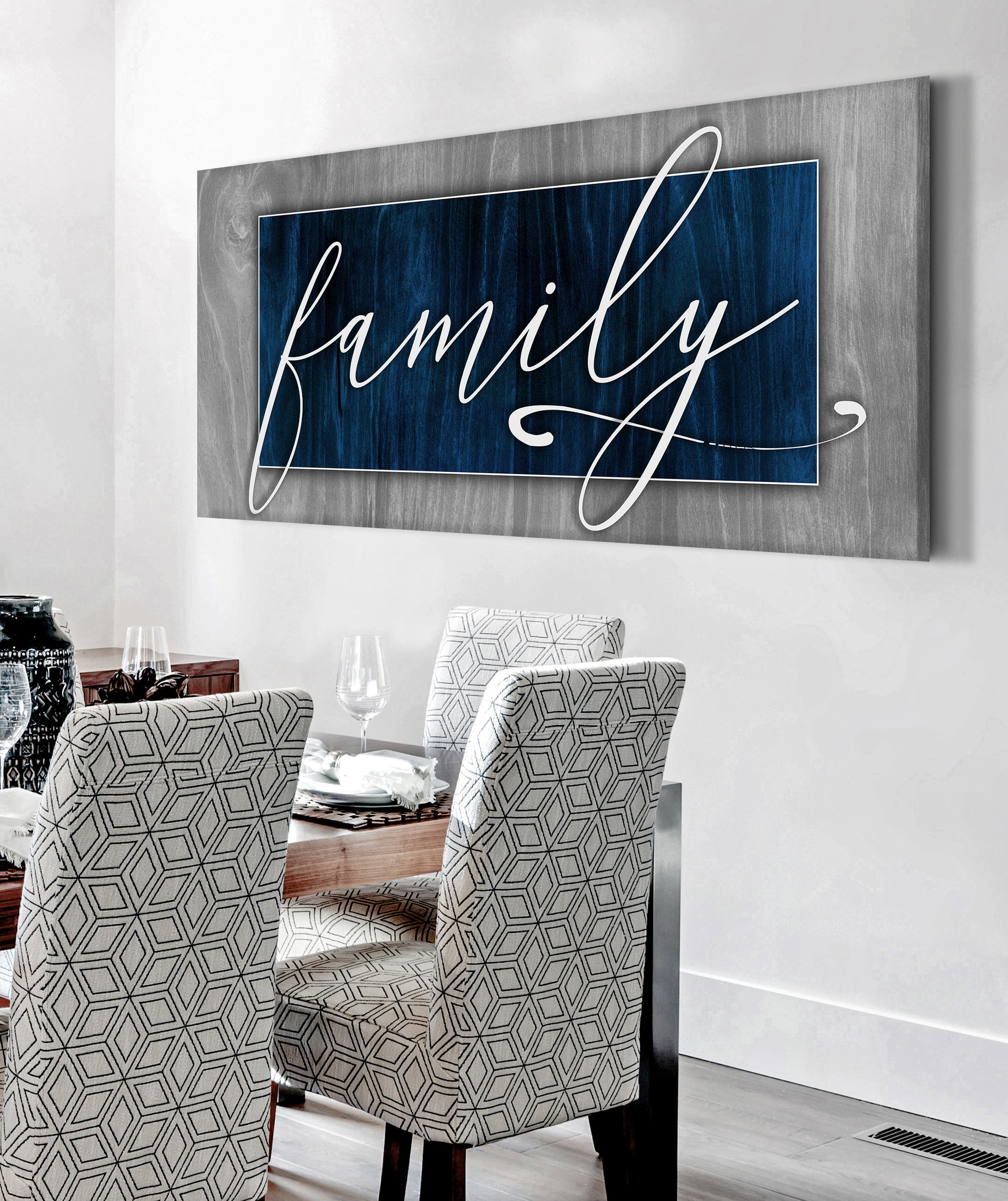 Family Wall Art: Family Word Sign V3 (Wood Frame Ready To Hang)