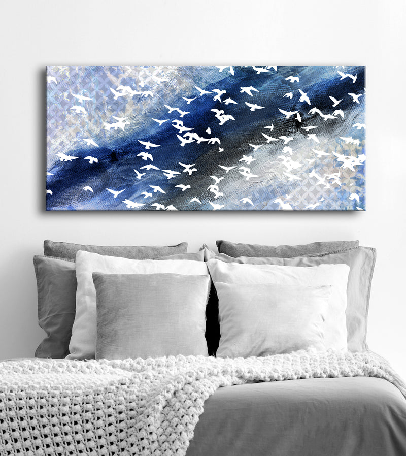 Bird Wall Art: Flying Birds Abstract Art (Wood Frame Ready To Hang)