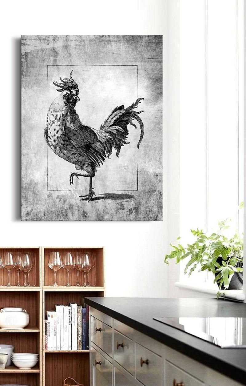 Bird Wall Art: Rooster V2 (Wood Frame Ready To Hang)