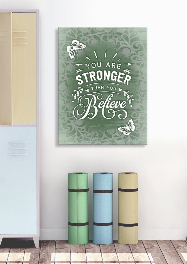 Fitness Wall Art: You are Stronger Than You Believe (Wood Frame Ready To Hang)