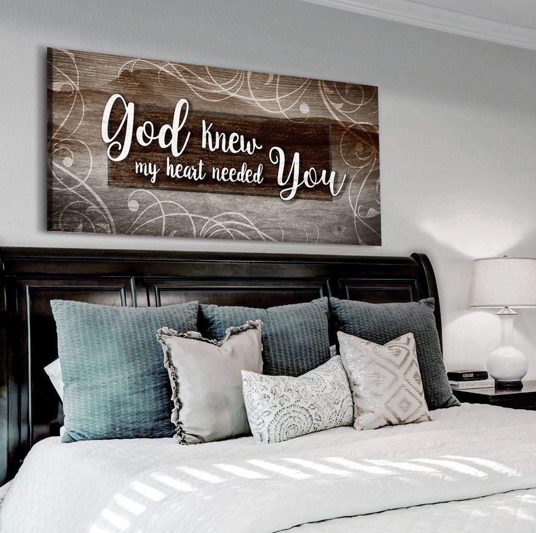 Christian Wall Art: God Knew My Heart Needed You V12 (Wood Frame Ready To Hang)