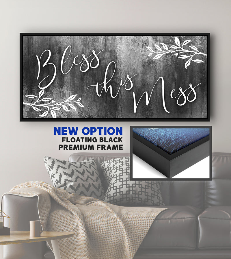 Christian Wall Art: Bless This Mess V2(Wood Frame Ready To Hang)