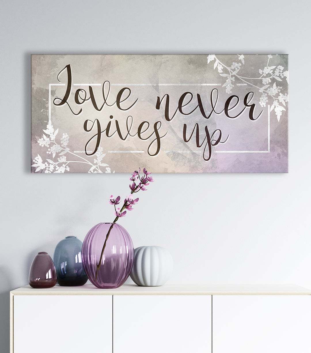 Couples Wall Art: Love Never Gives Up V2(Wood Frame Ready To Hang)