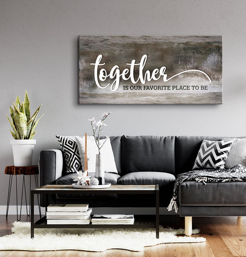 Home Wall Art: Together Is Our Favorite Place To Be V4 (Wood Frame Ready To Hang)