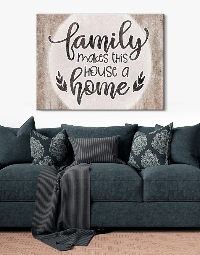 Family Wall Art: Family Makes This House a Home V4(Wood Frame Ready To Hang)