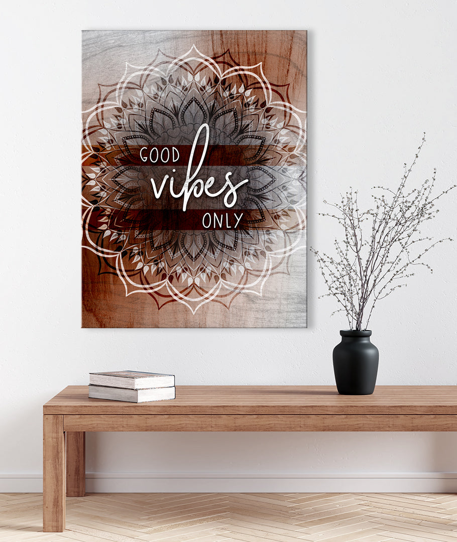Home Wall Art:  Boho Good Vibes Only(Wood Frame Ready To Hang)