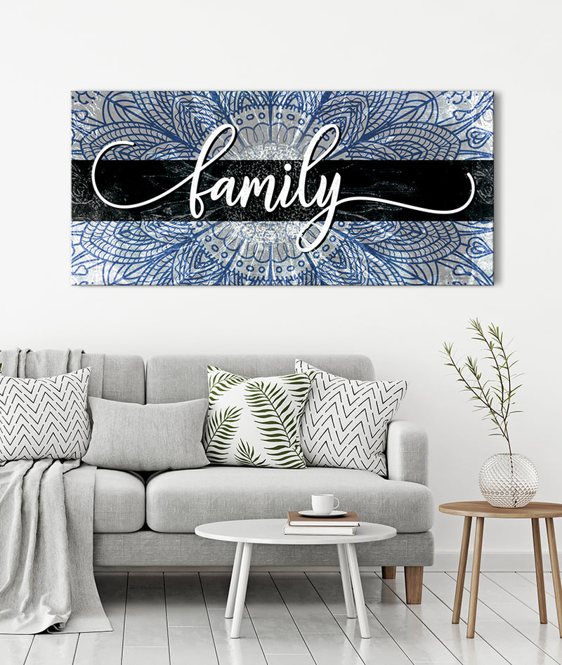 Family Wall Art: Boho Family Word Sign (Wood Frame Ready To Hang)