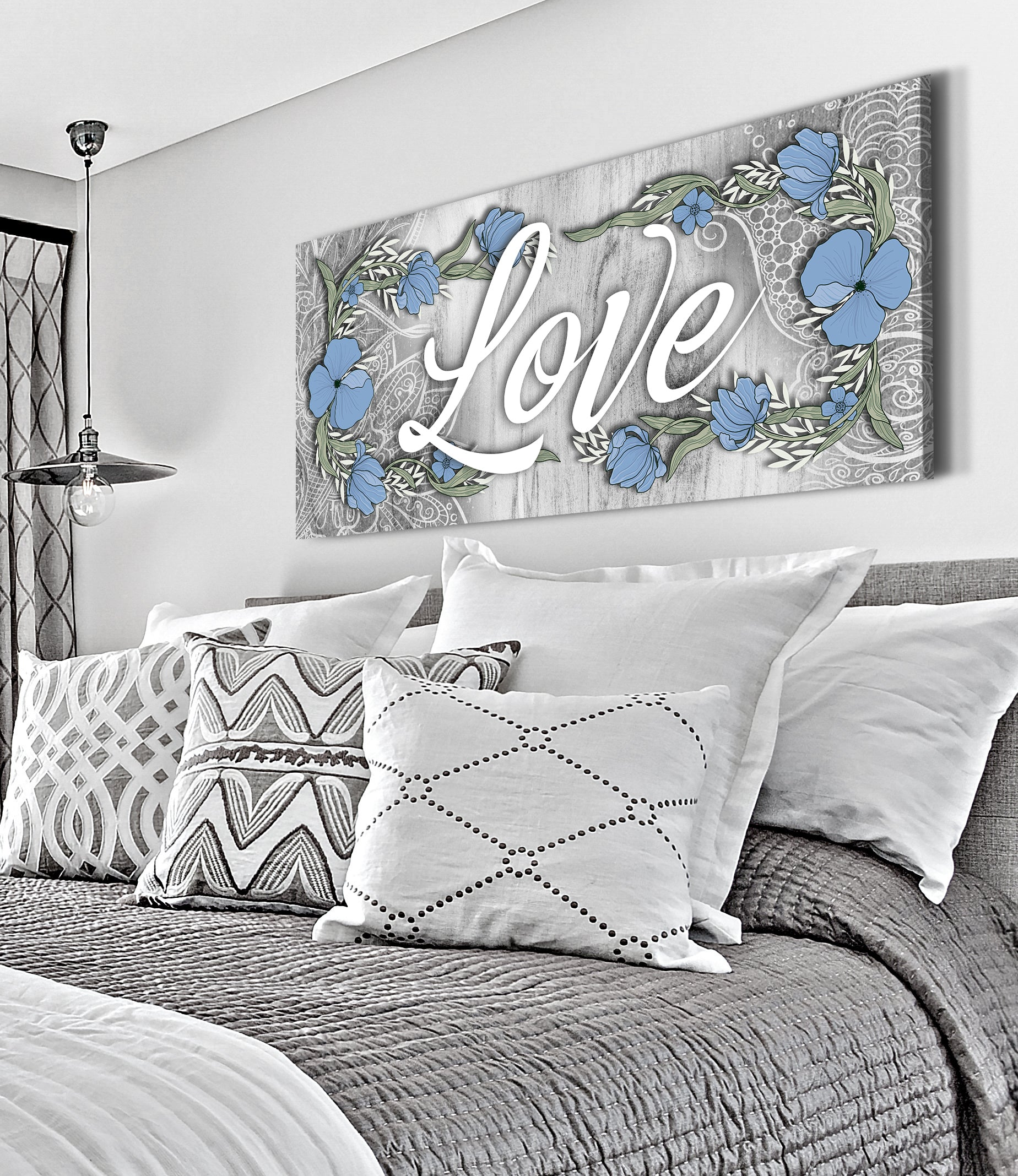 Home Wall Art: Boho Love Word Sign (Wood Frame Ready To Hang)