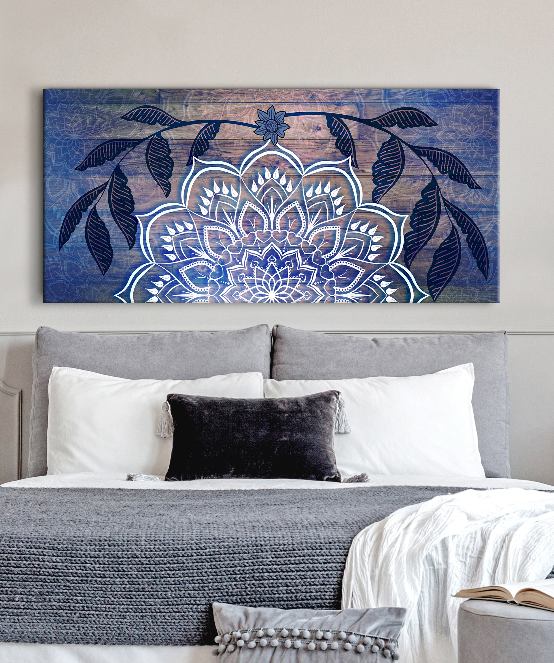 Home Wall Art: Boho Mandala Art V2 (Wood Frame Ready To Hang)