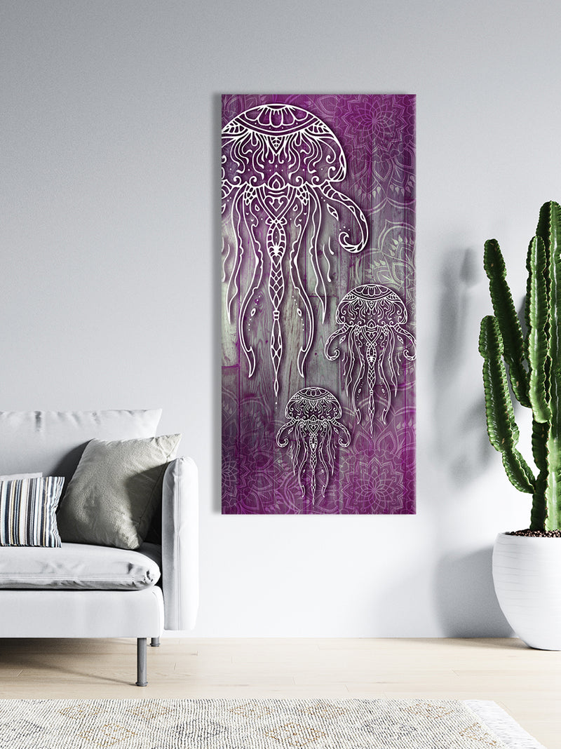 Home Wall Art: Boho Jellyfish (Wood Frame Ready To Hang)