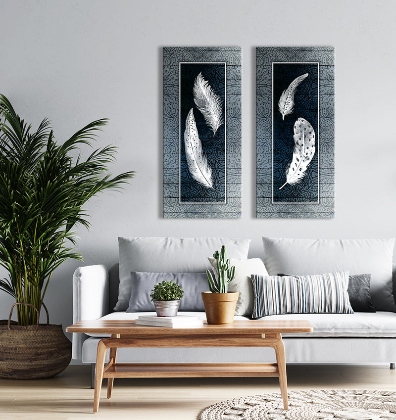 Home Wall Art: Boho Feathers Set of 2 (Wood Frame Ready To Hang)