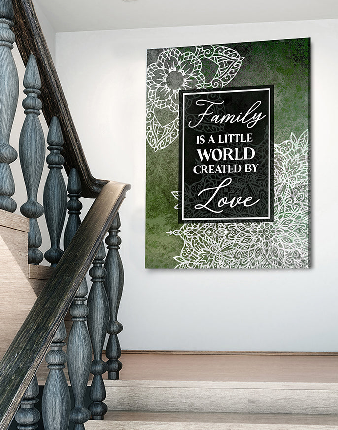 Family Wall Art: Boho Family Little World Created By Love V4 (Wood Frame Ready To Hang)