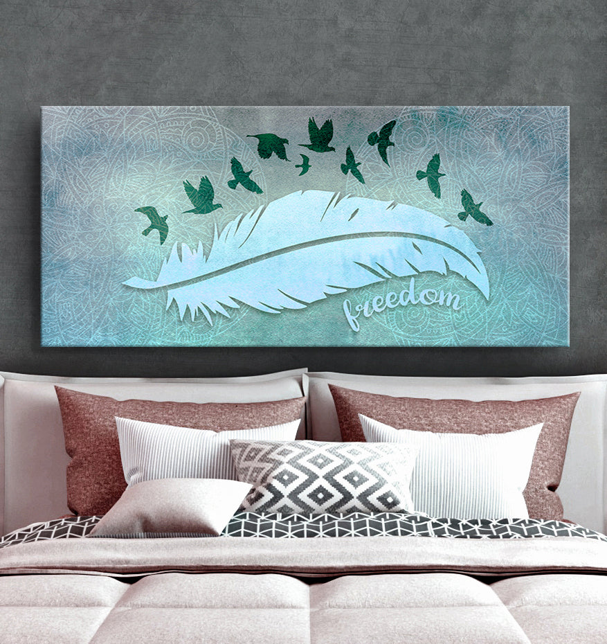 Home Wall Art: Boho Feather Freedom (Wood Frame Ready To Hang)