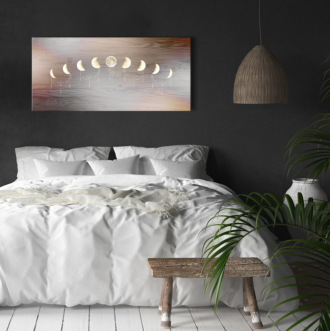 Home Wall Art: Boho Moon Phases (Wood Frame Ready To Hang)