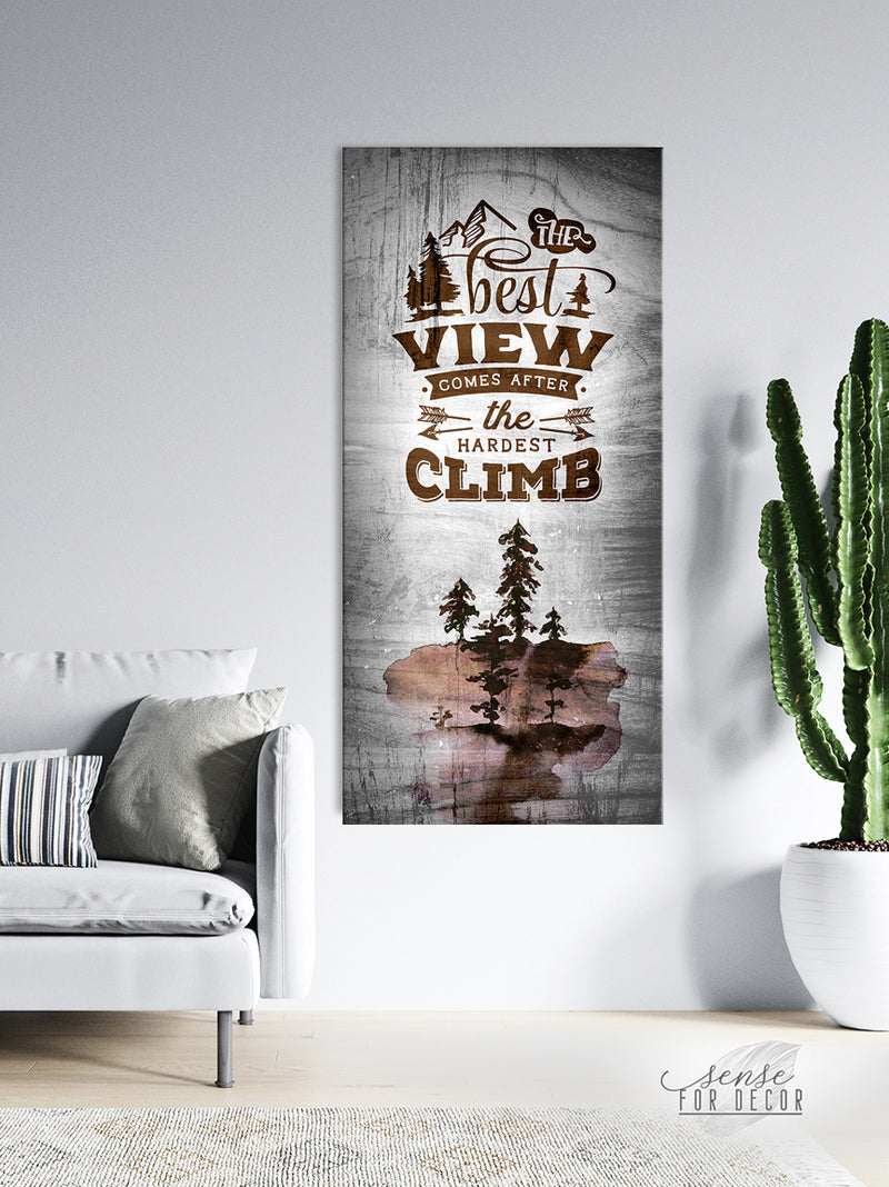 Inspire Wall Art: The Best View Comes After The Hardest Climb V3 (Wood Frame Ready To Hang)