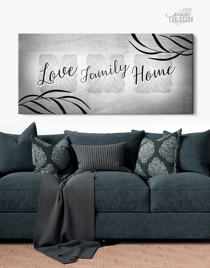 Family Wall Art: Love Family Home (Wood Frame Ready To Hang)
