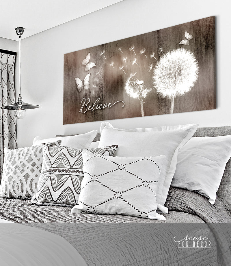 Inspire Wall Art: Dandelion Believe (Wood Frame Ready To Hang)
