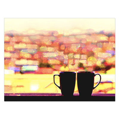 Home Wall Art: Coffee Lovers Canvas (Wood Frame Ready To Hang)