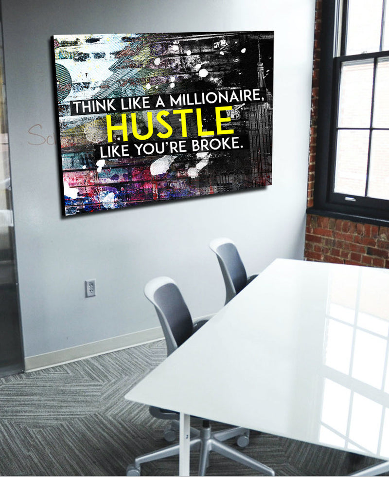 Business Wall Art: Think Like A Millionaire Canvas Hustle (Wood Frame Ready To Hang)