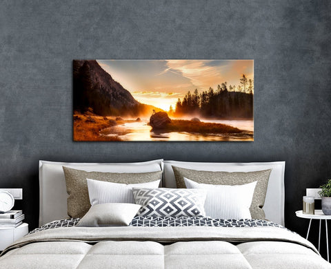 Home Wall Art: Orange Glow Lake (Wood Frame Ready To Hang)