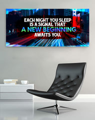 Inspire Wall Art: Each Night You Sleep Is A New Beginning (Wood Frame Ready To Hang)