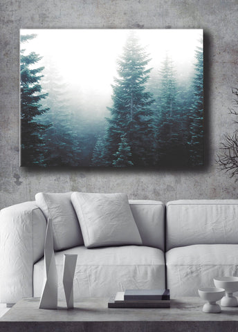Nature Wall Art: Evergreen Trees Fog (Wood Frame Ready To Hang)