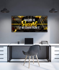 Inspire Wall Art: Failure Is Success If We Learn (Wood Frame Ready To Hang)