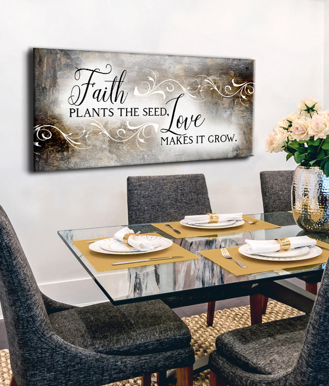 Christian Wall Art: Faith Plants The Seed (Wood Frame Ready To Hang)