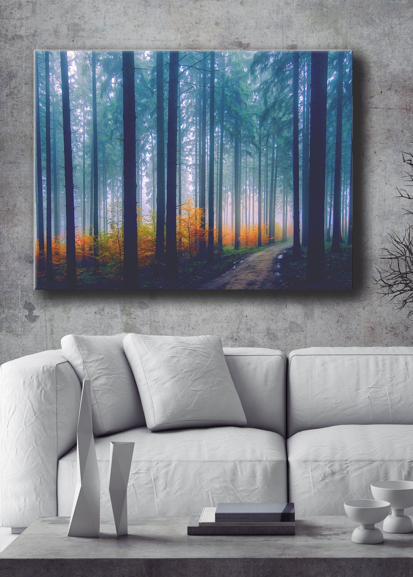 Nature Wall Art: Forest Path With Yellow Leaves (Wood Frame Ready To Hang)