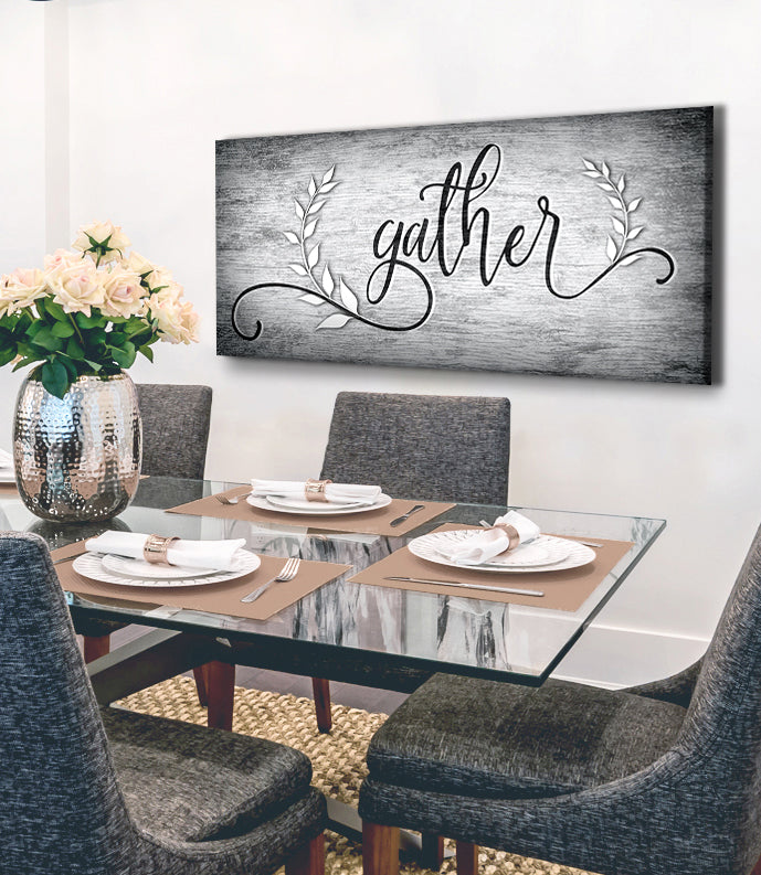 Kitchen Wall Art: Gather V6 (Wood Frame Ready To Hang)