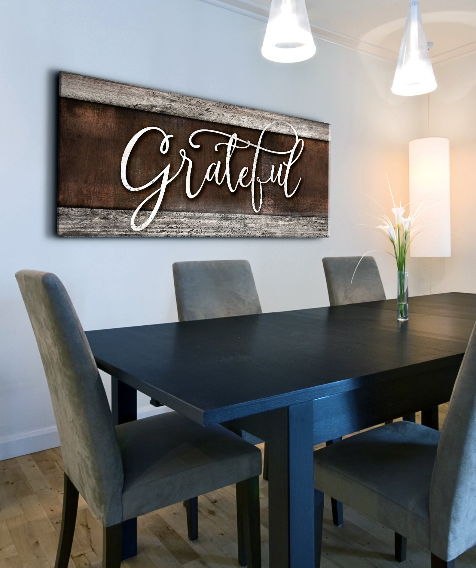 Home Wall Art: Grateful V2 (Wood Frame Ready To Hang)