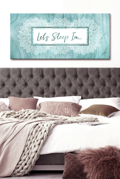 Bedroom Wall Art: Lets Sleep In V2 (Wood Frame Ready To Hang)
