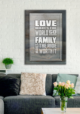 Couples Wall Art: Love Makes The World Go Round (Wood Frame Ready To Hang)