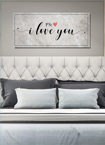 Couples Wall Art: P.S. I Love You (Wood Frame Ready To Hang)