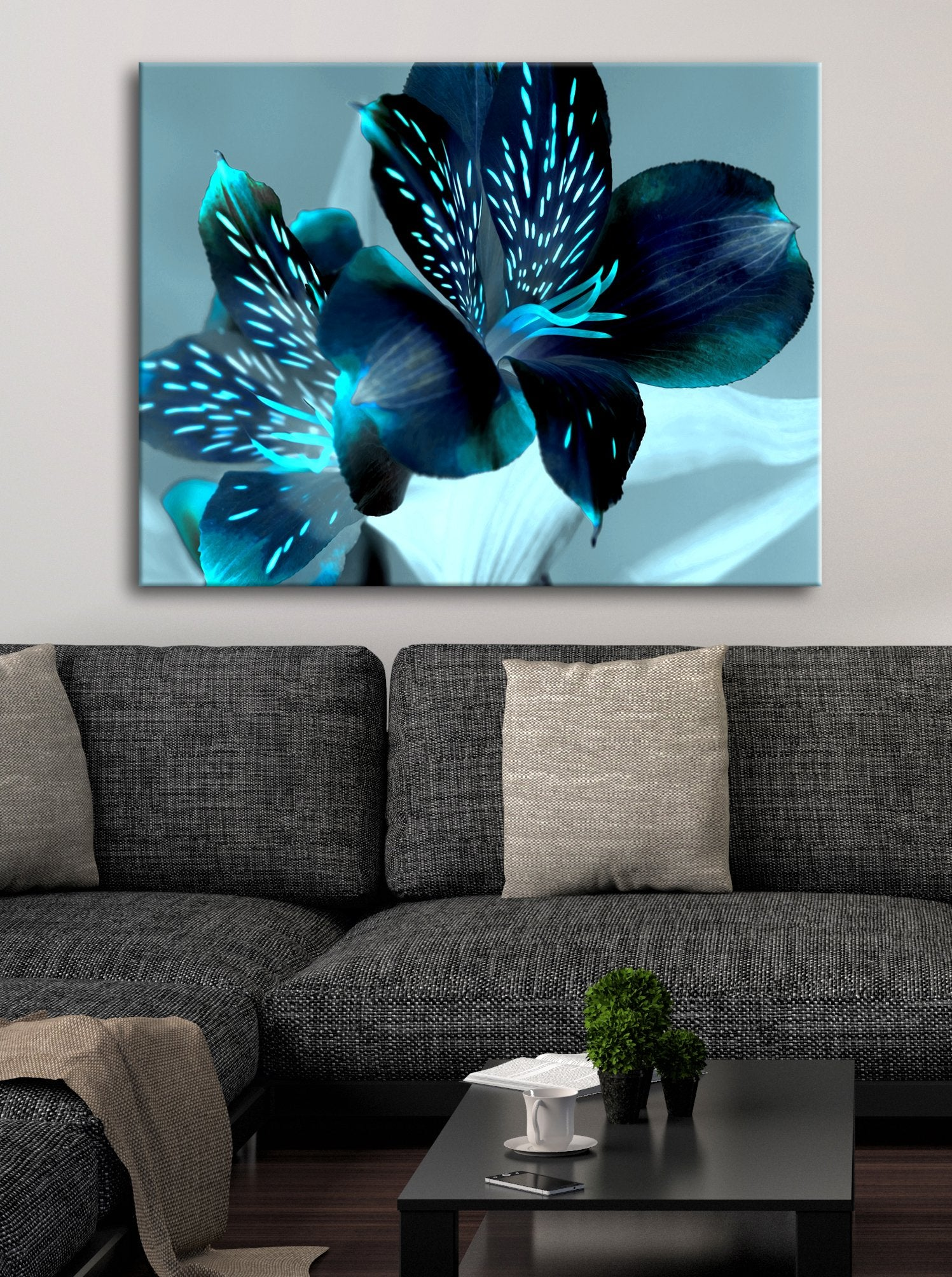 Flower Wall Art: Navy Teal Dark Flower (Wood Frame Ready To Hang)