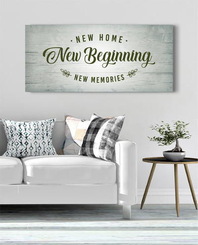 Home Wall Art: New Home New Beginning (Wood Frame Ready To Hang)