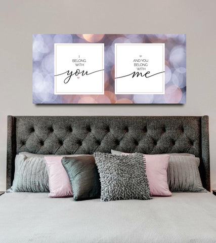 Couples Wall Art: I Belong With You (Wood Frame Ready To Hang)